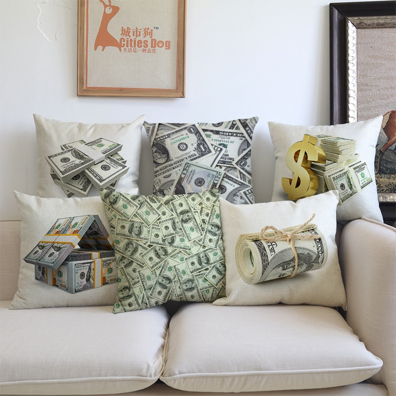 Nuevo sofá decorativo de dólares estadounidenses, almohadas de lino cuadrado de 18 pulgadas, estampado de dinero de algodón, funda para cojín de asiento, decoración del hogar