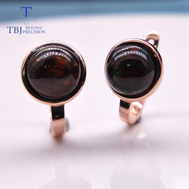 Tbj, 925 prata esterlina rosa cor pequenos pontos fecho brinco com pedra preciosa opala colorida natural estilo simples jóias para meninas