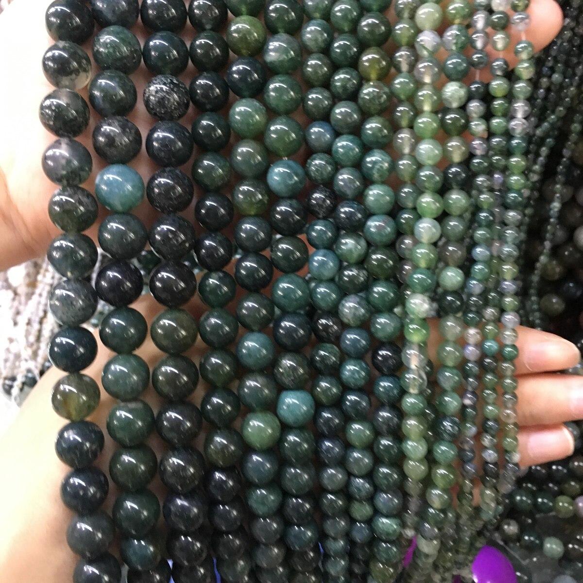 Piedra Natural ágata acuática piedra 4/6/8/10/12mm joyería de moda cuentas sueltas para hacer joyería collar pulsera DIY