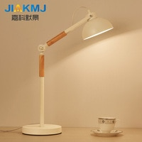 Table lamp American living room modern minimalist bedroom creative lamp Nordic reading study wood study eye lamp