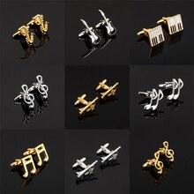 Moda de luxo Projetos 18 Guitarra Abotoaduras Projeto Da Música Nota Musical homens Marca botões de punho abotoaduras de Jóias de Alta Qualidade
