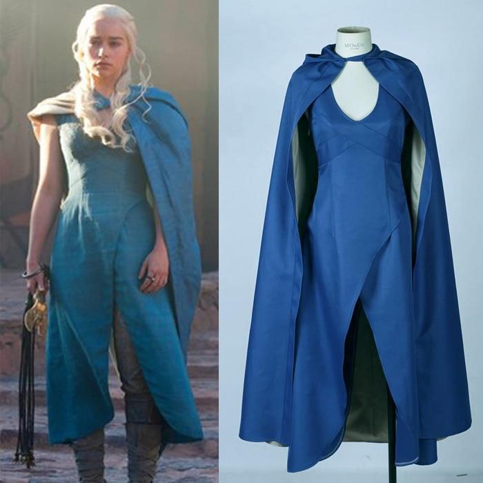 Juego de tronos vestido de Daenerys Targaryen y capa para disfraz de cosplay vestido azul capa vestido de fiesta de Halloween