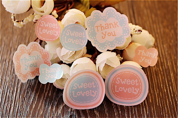 32pcs/sheet THANK YOU Pink Blue Sealing Paste DIY Gift Wrap Decorative Stickers Thankyou Sticker Labels Seals packaging Backing