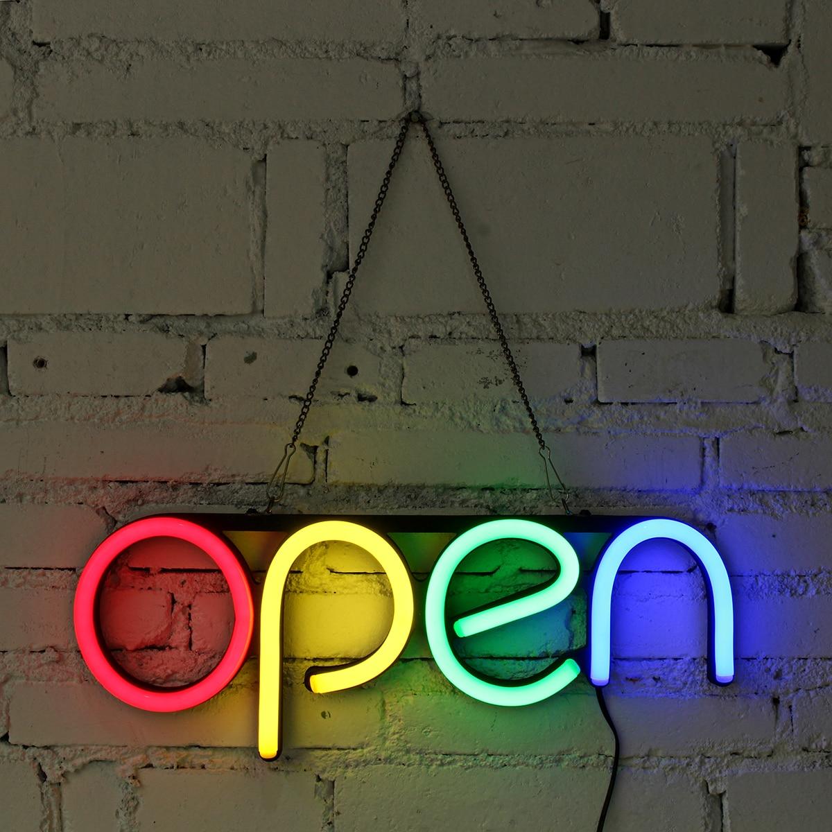 مصباح نيون LED بعلامة نيون مفتوحة مقاس 16 بوصة ، مصباح يدوي ، عمل فني مرئي ، بار ، نادي KTV ، زخرفة جدارية ، إضاءة تجارية ، لمبات نيون ملونة