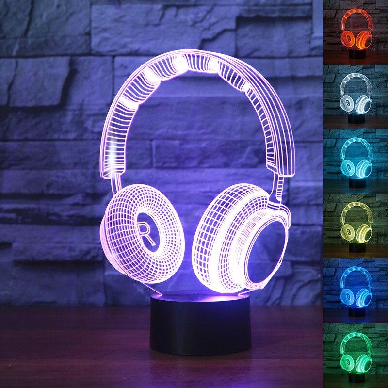 3D DJ auriculares Illusion lámpara estudio Monitor auriculares de música hi-fi 3d luz nocturna Color dormitorio lámpara decoración del hogar led