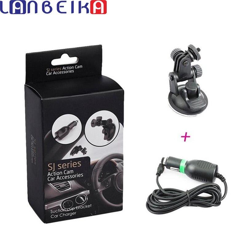 LANBEIKA soporte de ventosa soporte de coche cargador para SJCAM SJ4000 SJ5000 M10 M20 Eken Gopro 4 3 accesorios de montaje de cámara