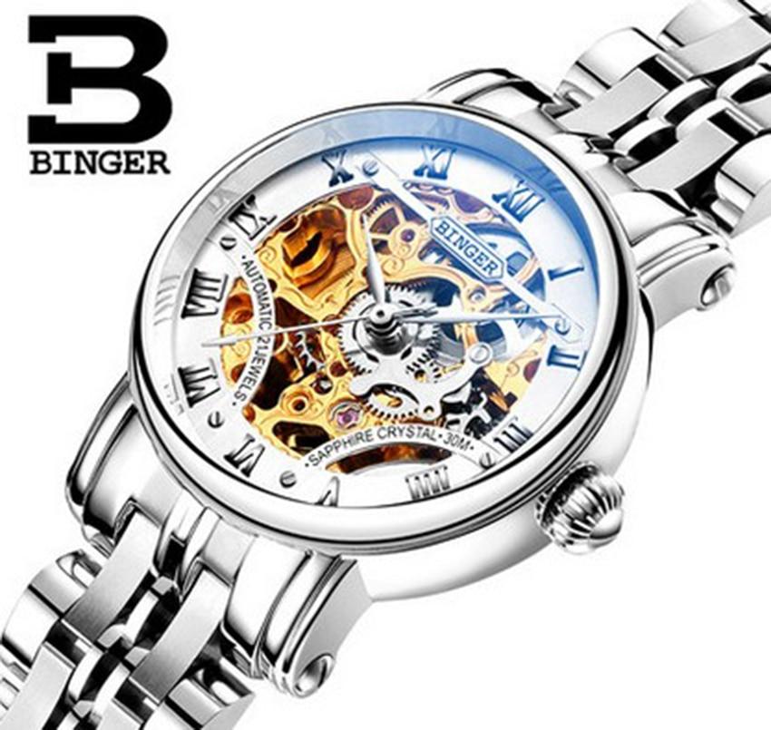Reloj esqueleto para mujer de marca BINGER de lujo auténtico, mecánico automático, de acero inoxidable, hueco, a prueba de agua, moda masculina