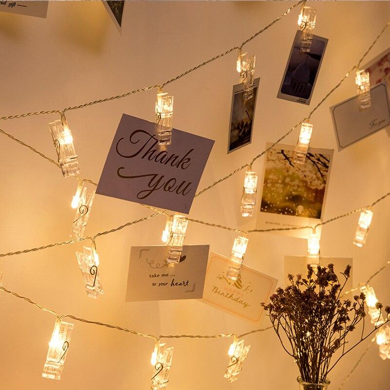Lyfs 2 m/4 m led photo clip luz cadeia flash foto decoração de parede para aniversário dia dos namorados festa guirlanda