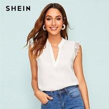 SHEIN v-placket encaje Trim Shell Top 2019 elegante cuello pico Stand Collar verano sin mangas y blusas Tops para mujer