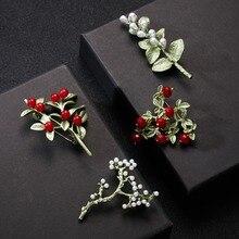 Rinhoo 새로운 도착 브로치 카네이션 공장 꽃 빈티지 그린 브로치 보석류 코사지 드레스 코트 액세서리 보석 선물