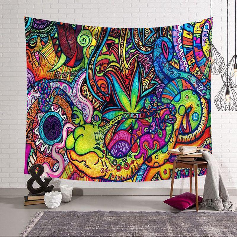 Tapiz de diseño de mandala Hippie de poliéster, arte de pintura abstracta, colgante de pared, gobelino, sala de estar, manualidades decorativas
