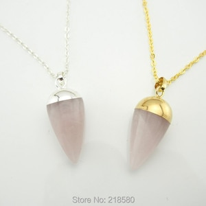 NC150120004 Rose Pink Quartz Point Pendant Crystal Pendulum Charm Necklace Gold or Silver
