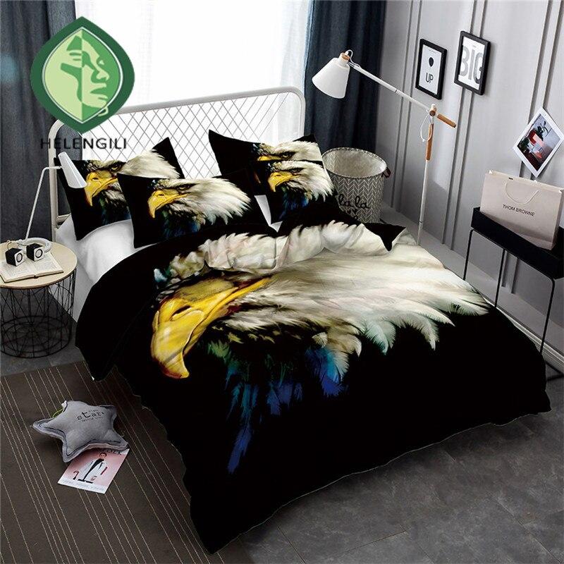 HELENGILI 3D Bedding Set Eagle Print Duvet Cover Set Lifelike Bedclothes with Pillowcase Bed Set Home Textiles #Y-02