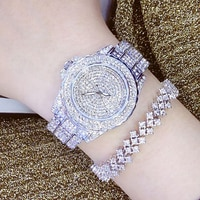 Женские Модные кварцевые часы Стразы, женские повседневные часы с кожаным ремешком, женские часы с розовым золотом и кристаллами, женские ч...