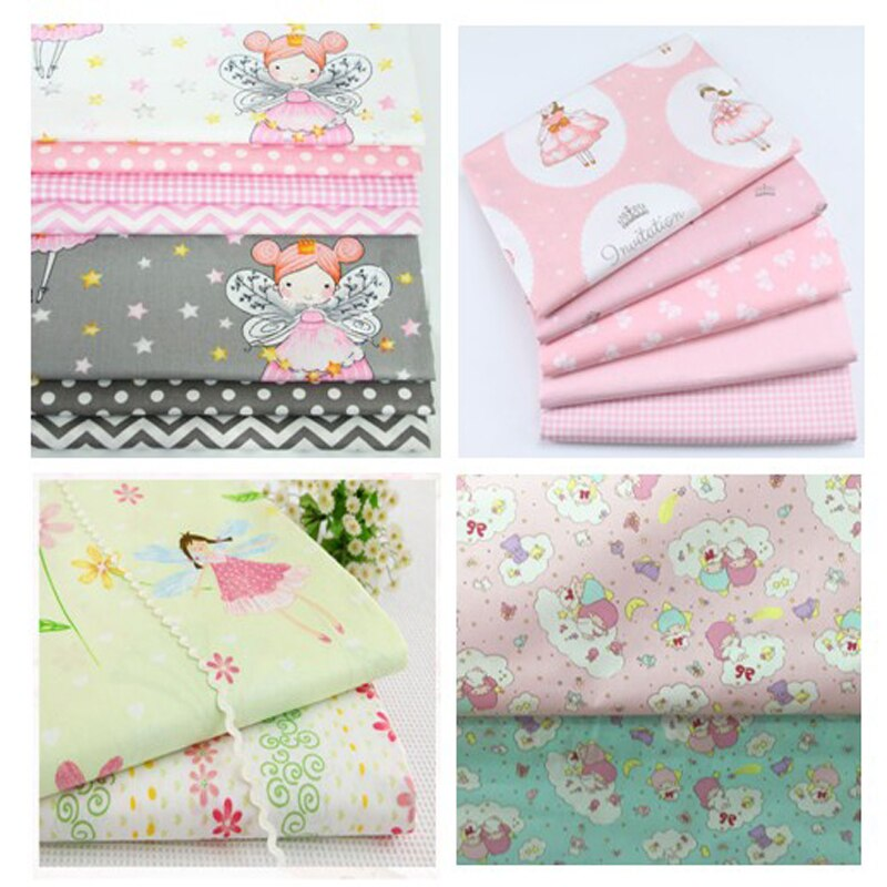 50x160cm Pretty Princess Girl Angel & Check Polka Dot Bowknot Printed 100% Cotton Fabric DIY Sew patchwork quilting bedding cush