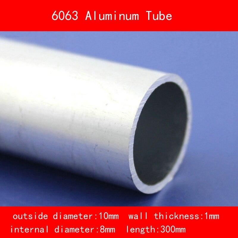 Diámetro externo 10mm diámetro interno 8mm grosor de la pared 1mm longitud 300mm 6063 tubo de aluminio Material DIY