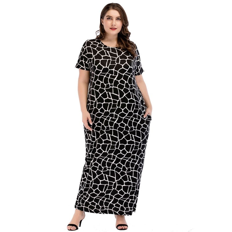Vestido largo negro musulmán Abaya estampado talla grande 4XL mujeres turco Dubai ropa islámica Turquía Malasia vestido Ramadan verano Bata