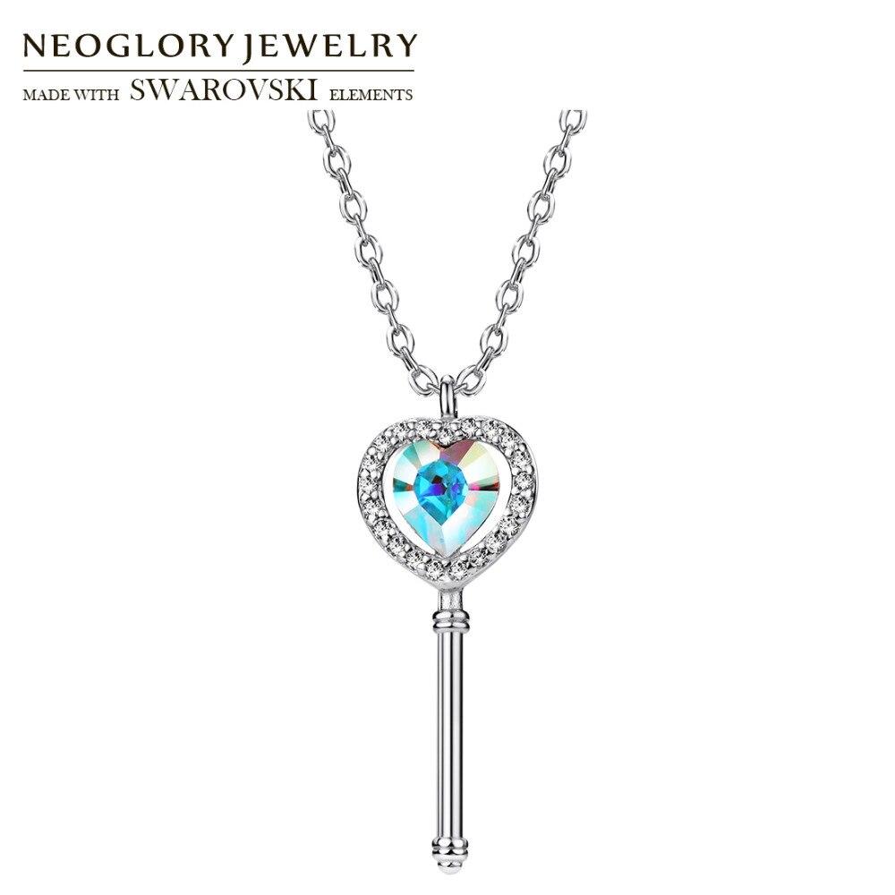 Collar de plata Neoglory Austria con cristales y diamantes de imitación y colgante S925 hipoalergénico, regalo elegante para amantes del diseño de llave clásica
