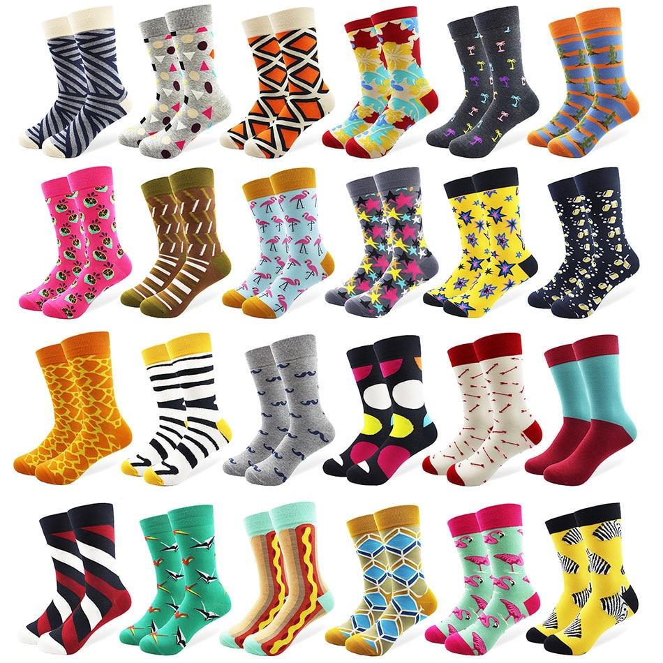 29 Patterns Men's Funny Combed Cotton Happy Socks Colorful Multi Pattern Long Tube Skateboard Casual Socks for Men
