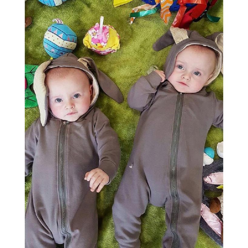 Adorável bebê recém-nascido da menina do menino coelho 3d orelha quente macacão roupas roupas do bebê novo agosto 14