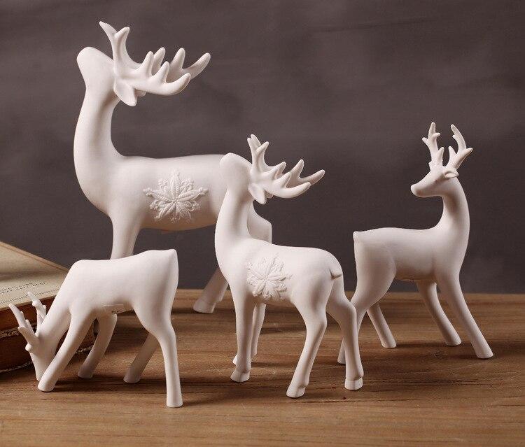 American Country Simple creativo hogar blanco cerámica ciervo Ventana de decoración Decoración Accesorios de tiro