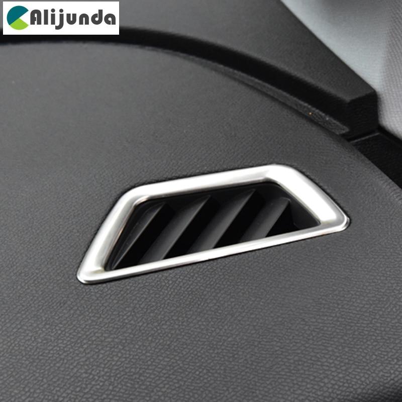 Cubierta de decoración de salida de aire acondicionado frontal de coche de acero inoxidable para Peugeot 5008 3008 GT 2017, accesorios de coche