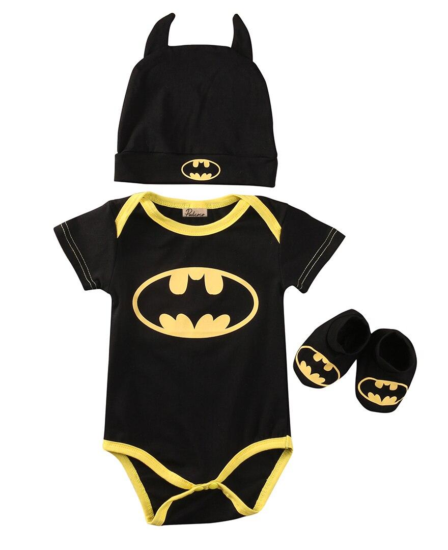 Emmababy Baby Kleidung Set Sommer Nette Batman Neugeborenes Baby Jungen Säuglingsspiel + Schuhe + Hut 3Pcs Outfit Baby jungen Kleidung Set