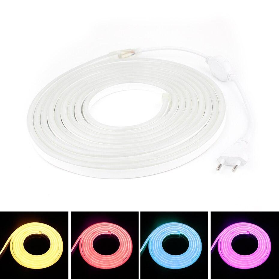 220V Led de neón RGB de luz Flexible fita IP68 impermeable Neon lámpara LED RGB 2835 SMD 120leds/m 1/M-20m tira de LED de luz