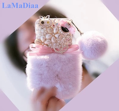 Luxury Warm Fluffy Rabbit Fur Bling Diamonds Pearl jewelry Soft Case Cover For Samsung S10 S20 S9 S8