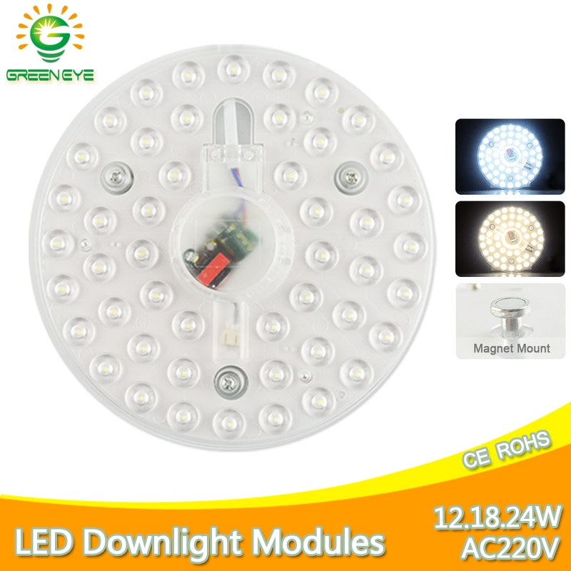 12w 18w 24w 32w ac220v led downlight lamp plate ceiling light source module replace u o type cfl esl tube bulb 20w 30w 40w 50w Magnet Ceiling Lamp LED Module AC220V 12W 18W 24W LED Light Source Replace Ceiling Lighting Accessory Plate Ring Warm Cool White