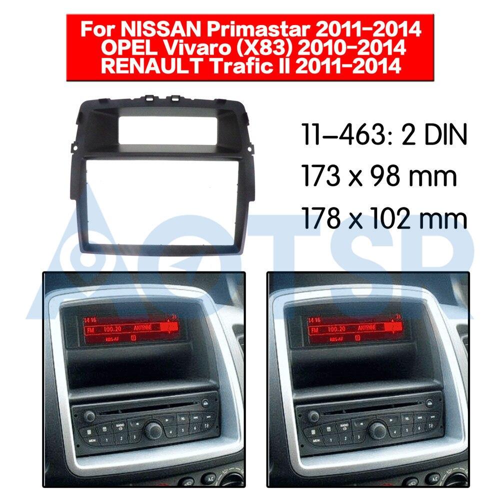 2 din Radio Fascia for NISSAN Primastar (J4) for OPEL Vivaro (X83)for RENAULT Trafic II  Audio Mount Installation Dash Frame