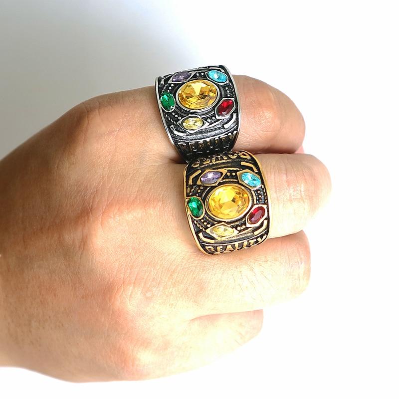 Hight Qualität Größe 6 bis Größe 15 Unisex 316L Edelstahl Kühlen Avenger Thanos 5 Steine Ring Neueste