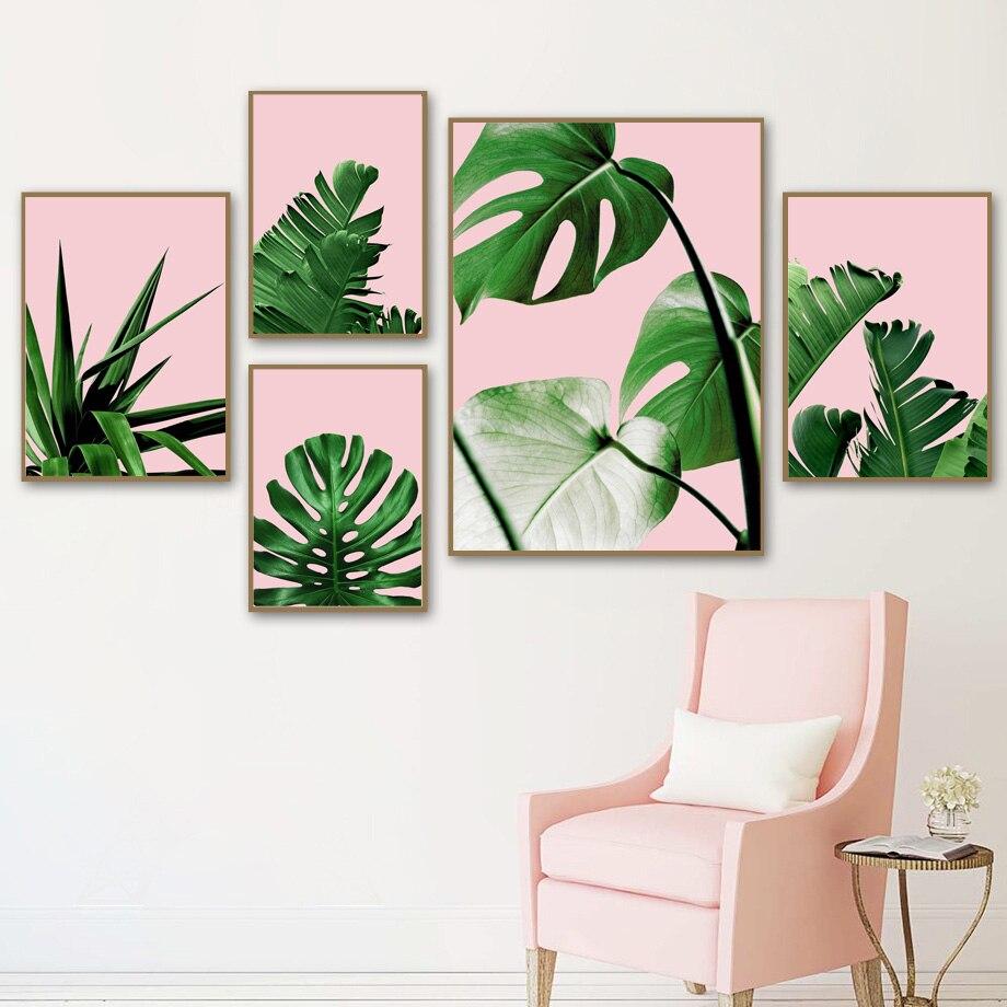 Зеленый Monstera Пальмовый Лист настенная живопись холст тропические растения плакаты на скандинавскую тему и принты настенные картины для де...