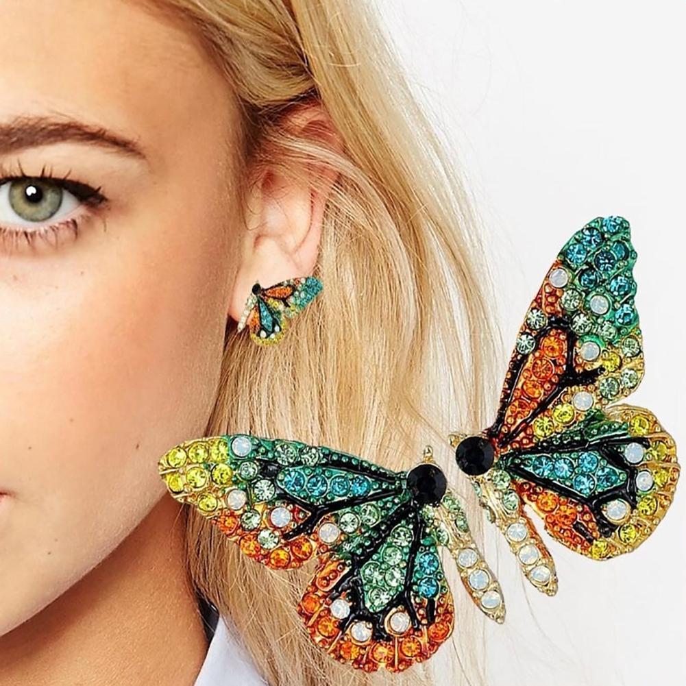 Модные-женские-Разноцветные-серьги-гвоздики-Стразы-с-бабочками-украшения-для-вечеринок-новинка