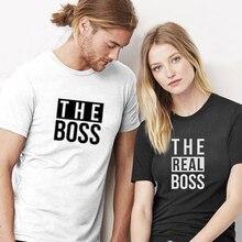 Patron Gerçek Patron Komik Çift Eşleştirme T-shirt Karı koca Tees Aşk Çift Üst Tee Komik Baskı