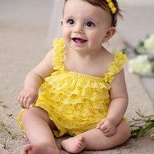 Vêtements en dentelle jaune pour filles   Jolies combinaisons à volants, barboteuse jaune pour bébés en bas âge, tenue de fête danniversaire pour bébés