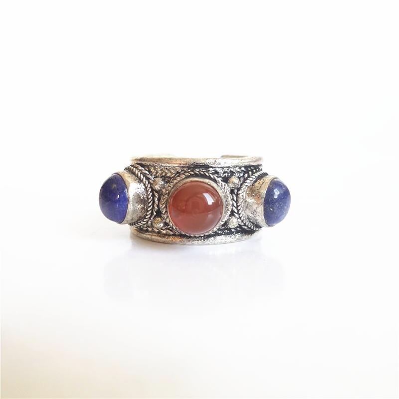 R189 tibete anéis étnicos tibetano cobre incrustado grânulos de pedra real aberto anéis lapis lazuli