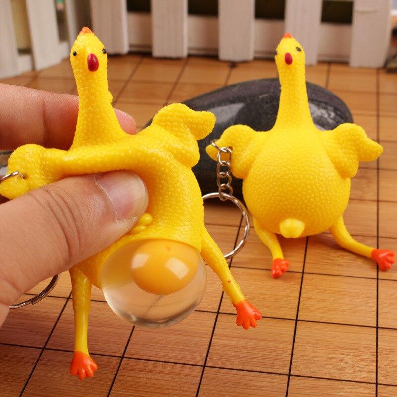 ¡Novedad! divertida broma, artilugios, judías verdes de dinosaurio, juguete, huevos de gallina, gallinas ponedoras, llavero con pelota antiestrés, llavero, regalo de alivio