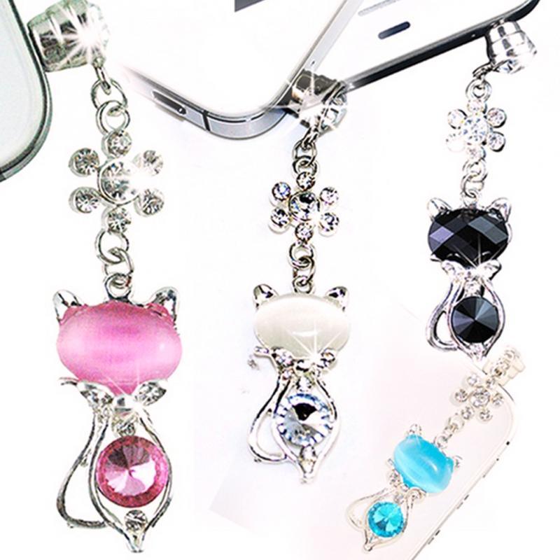Diamantes de imitación de gato Anti-polvo para auriculares de 3,5mm enchufe de polvo para Iphone para Samsung y móvil Universal del teléfono a prueba de polvo del enchufe Accesorios