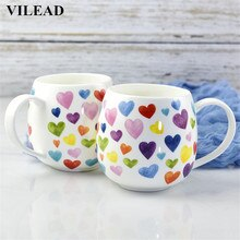 Керамическая кружка для кофе VILEAD, 380 мл, с милым сердечком, с изображением костяка из мультфильма, китайские чашки для живота, фарфоровая кру...