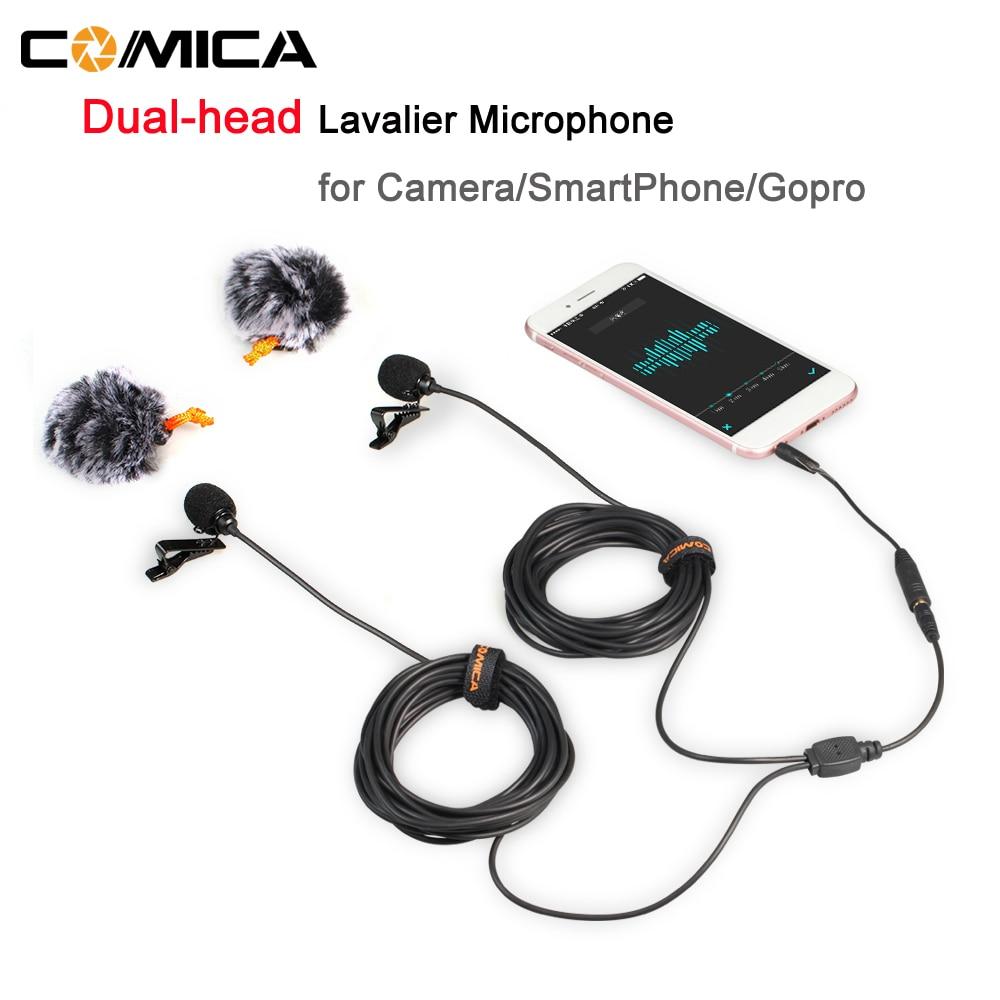 Comica 2,5 M/4,5 M/6 M de Audio de doble cabeza micrófono Lavalier condensador omnidireccional Mic para DSLR cámara SmartPhone Gopro entrevista