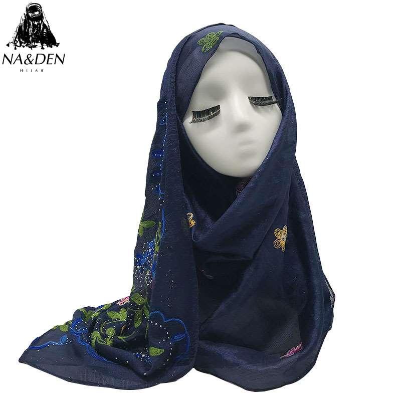 Hot Sale plain flower print silk-like scarf with pearl scarves muslim women hijab shawl soft foulard wrap 10pcs/lot 12 Colors