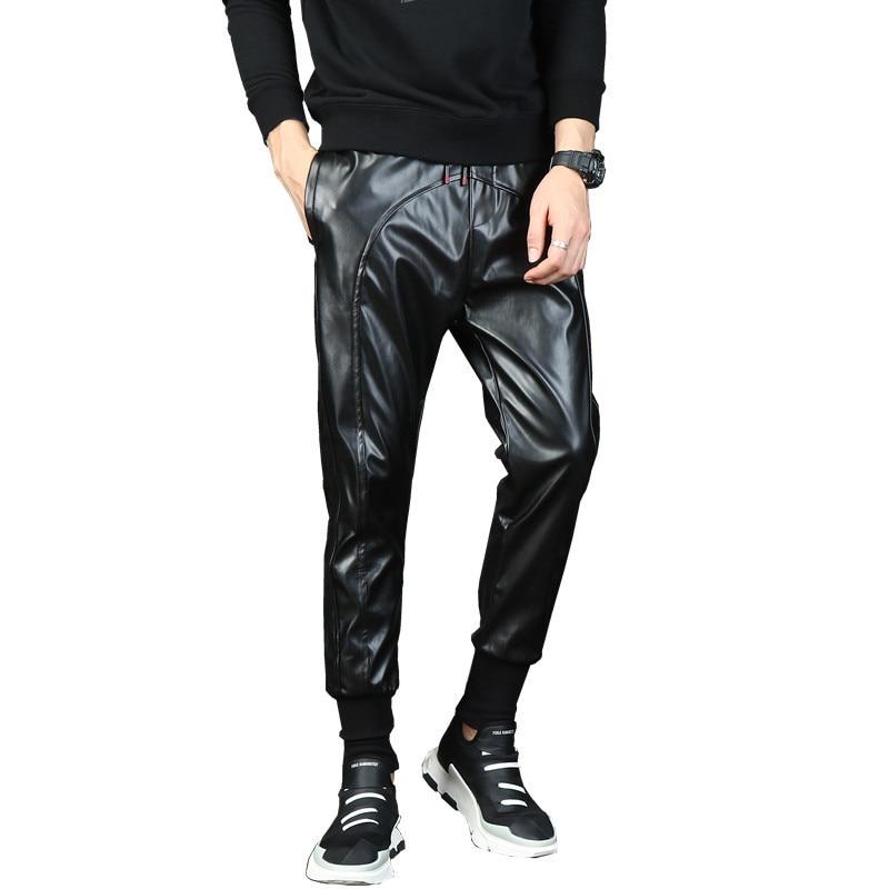 Mens Punk Moto Faux Leather pants Male Drop Crotch Harem Pants Street Dance DJ baggy Joggers Drawstring Night Club trousers 1005