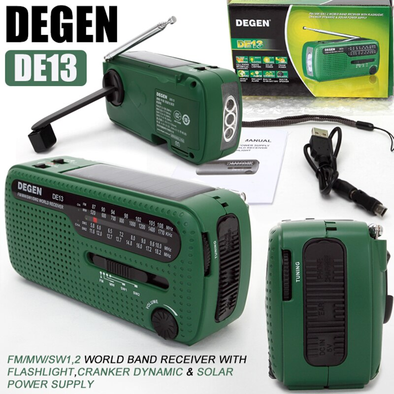 Degen de13 fm am sw manivela dínamo energia solar de emergência rádio receptor global alta qualidade vs tecsun PL-310ET vs panda 6200