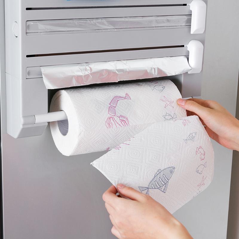 Multifuncional 6 em 1 cozinha suporte de armazenamento de papel alumínio cortador de filme rack de parede folha de corte adere envoltório da cozinha parede pendurar rack