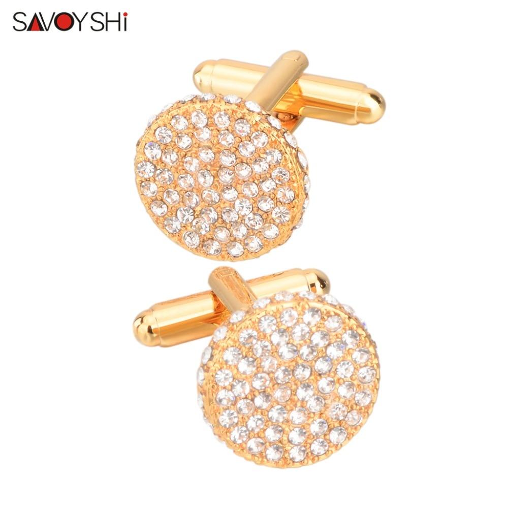 SAVOYSHI Luxury Crystal Cufflinks For Men Shirt Cuff Buttons High Quality Round Gold Color Cufflink Brand Jewelry Wedding Gift