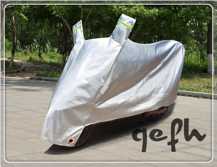 Qefh impermeable motocicleta garaje lona cubierta de la motocicleta 2,2 m/tamaño XL gris