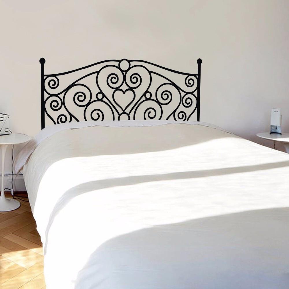 Pegatina de cabecera para pared, pegatina de vinilo, moderna, Shabby Chic, para cama King, cabecera, dormitorio, decoración del hogar