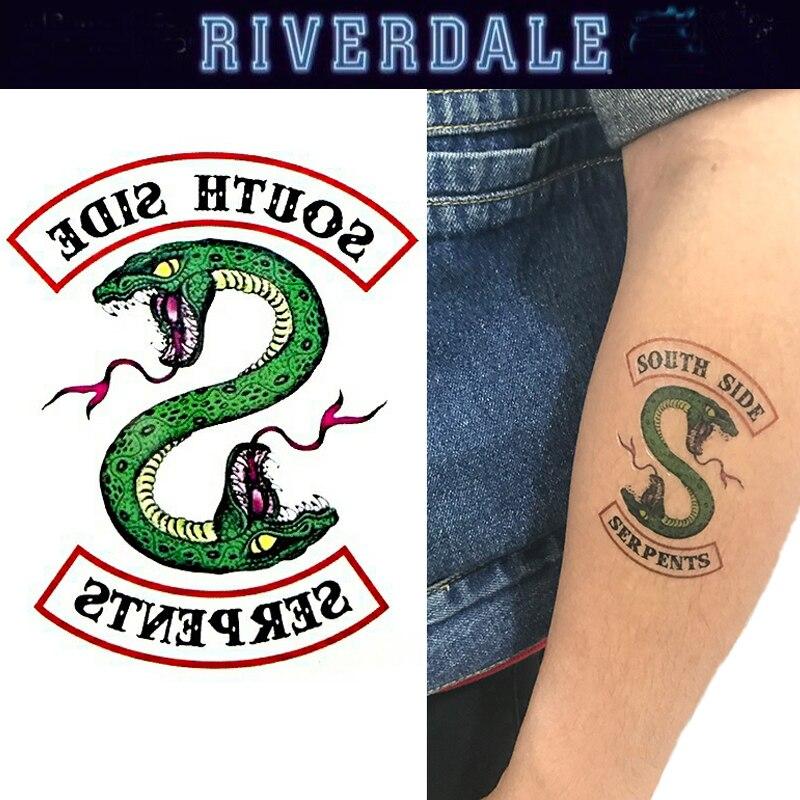 5 unids/set de pegatinas de Arte de tatuaje de serpiente Riverdale, accesorios de Cosplay, serpientes del lado sur, pegatinas DIY para mujeres y hombres, regalos para Navidad y HALLOWEEN