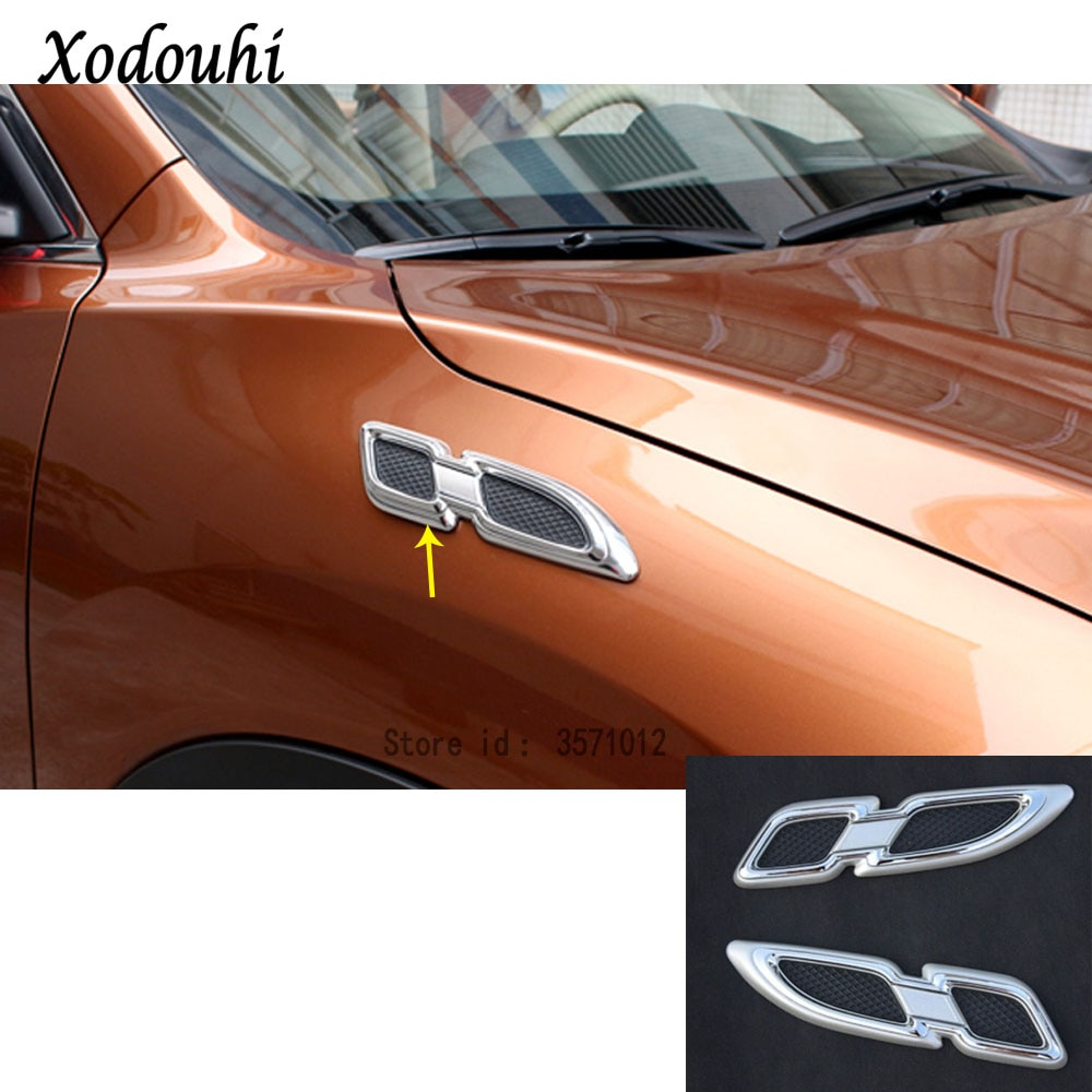 Para Nissan x-trail XTrail T32/Rogue 2014 2015 2016 cubierta detectora de coche hoja de follaje frontal guardabarros salida de ventilación de aire lámpara embellecedora